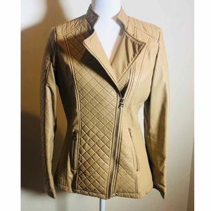 Beautiful Chic Tan Synthetic Leather Jacket